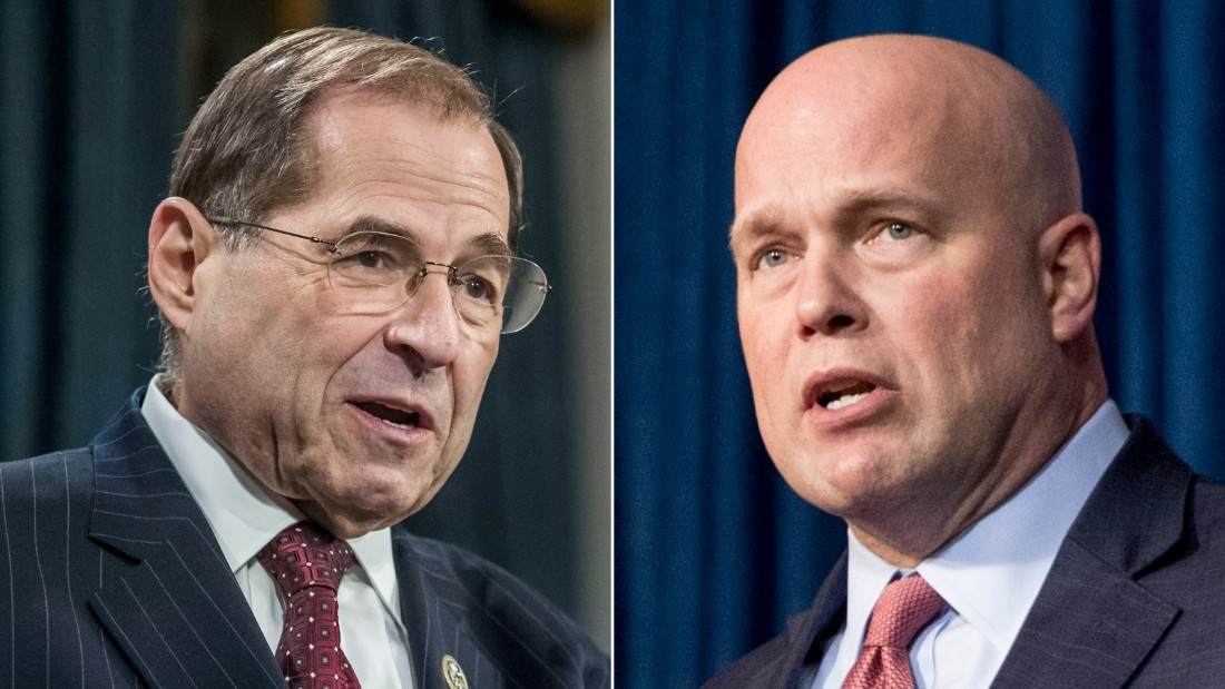 At left, Rep. Jerry Nadler, a New York Democrat and chairman of the House Judiciary Committee. At right, acting Attorney General Matt Whitaker who is scheduled to appear before Nadler's committee on Friday.