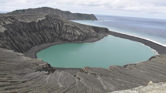 A view of the island's crater lake in June 2017.