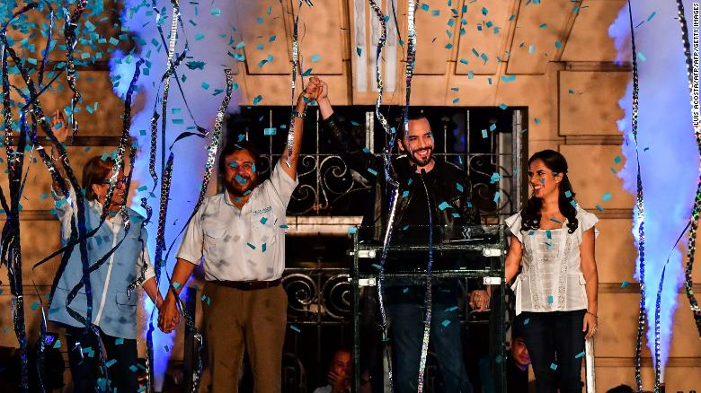 Bukele, his wife Gabriela Rodriguez, and vice president Felix Ulloa celebrate after winning the presidential elections.