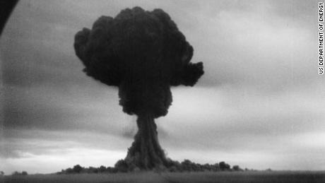 A photo of the first nuclear test by the Soviet Union on August 29, 1949.