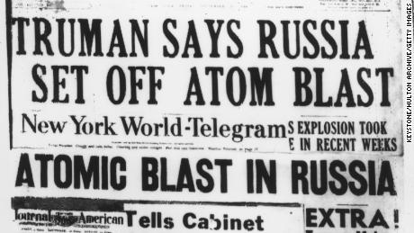 A selection of US newspaper headlines on President Truman's announcement that Soviet Union had conducted its first nuclear weapon test, September 24, 1949.