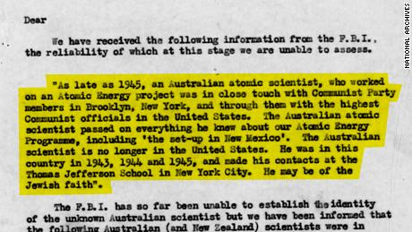 A top-secret British file on Eric Burhop referencing a cable from the FBI on an Australian spy within the Manhattan Project. Original image altered for clarity.