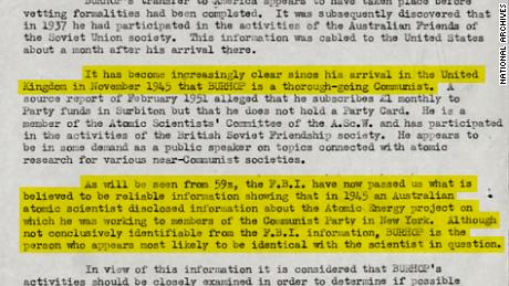 A top-secret British government file on Eric Burhop identifying him as the likely Australian Communist spy within the Manhattan Project. Original image altered for clarity.