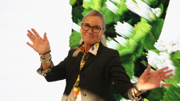 Angela Ahrendts attends an Apple store opening in Milan in July.