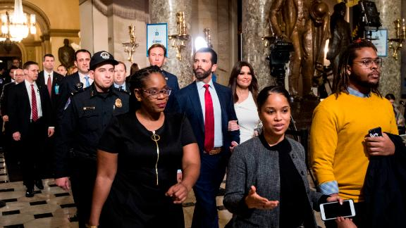 Donald Trump Jr. walks through Statuary Hall on his way to the office of House Minority Leader Kevin McCarthy.