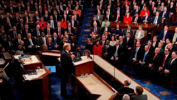 Trump faces lawmakers as he begins his speech in the House chamber.