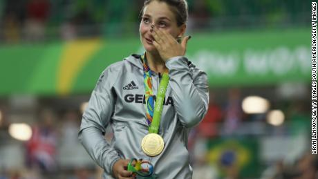 Vogel sheds a tear during her gold medal ceremony at the Rio Olympics in 2016.