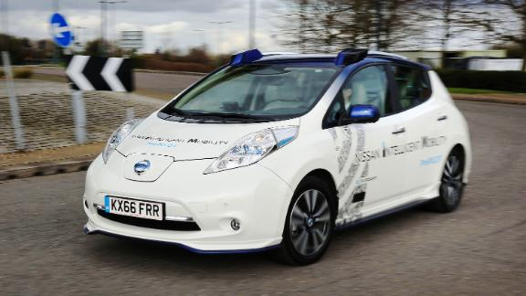 A prototype Nissan Leaf driverless car on a demonstration in London.