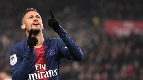 Neymar celebrates after scoring a goal for PSG.