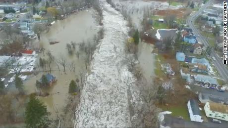 Ice jammed up Buffalo Creek in West Seneca, New York, this week, spilling water into the community and causing some residents to evacuate.