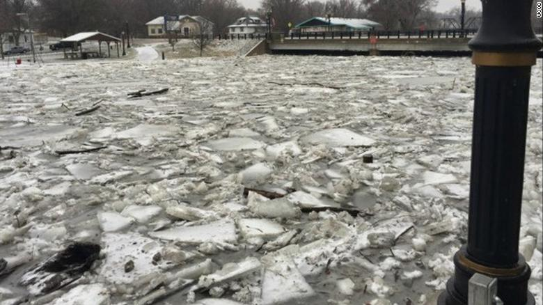 About 50 people had to be evacuated from their homes Wednesday because of the flooding caused by this ice jam, Portland officials said.