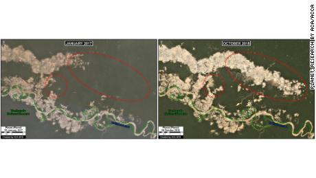 Gold Mines In Alaska Map, Satellite Imagery Provided By Maap Shows The Growing Damage That Gold Mining Has Caused Between 2017, Gold Mines In Alaska Map