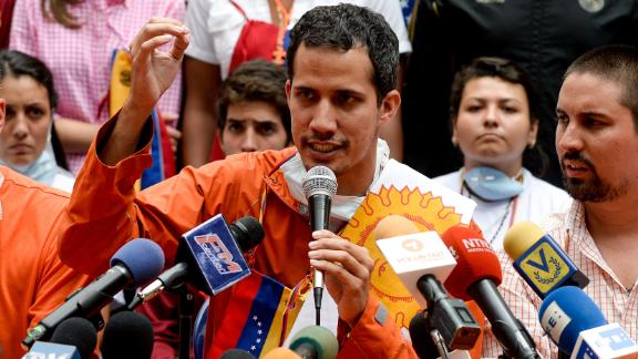 Guaido at a press conference in 2015.