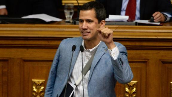 Guaido at the National Assembly in Caracas in 2017, after clashes with police during a demonstration.