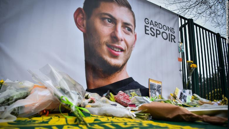 A picture shows flowers put in front of the entrance of the Nantes training on January 25, 2019, four days after the plane of Argentinian forward Emiliano Sala vanished.