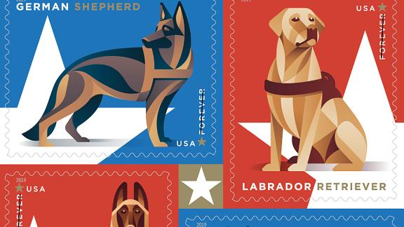 The post office will honor military working dogs with stamps featuring breeds known for their work in the service.