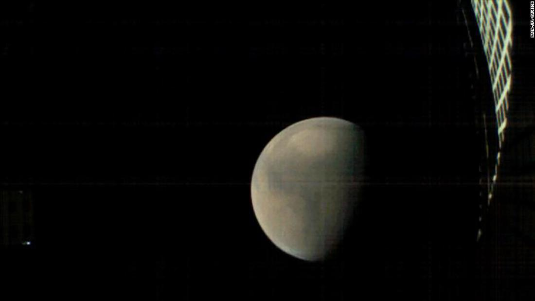 MarCO-B took this images as it approached Mars from about 357,300 miles away, just before InSight landed on Mars.