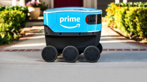 Amazon is testing package delivery with a robot that rides on sidewalks.