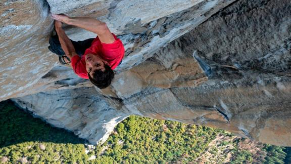 Alex Honnold making the first free solo ascent of El Capitan's Freerider in Yosemite National Park, CA. (National Geographic/Jimmy Chin)