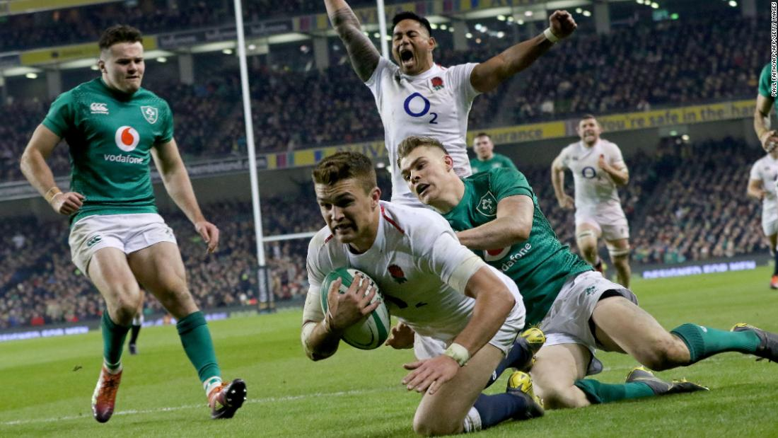 England stunned Ireland, who only lost one Test match last year, in Dublin to round off the first weekend of Six Nations. Two tries from Henry Slade and one each from Jonny May and Elliot Daly handed the visitors a famous win.