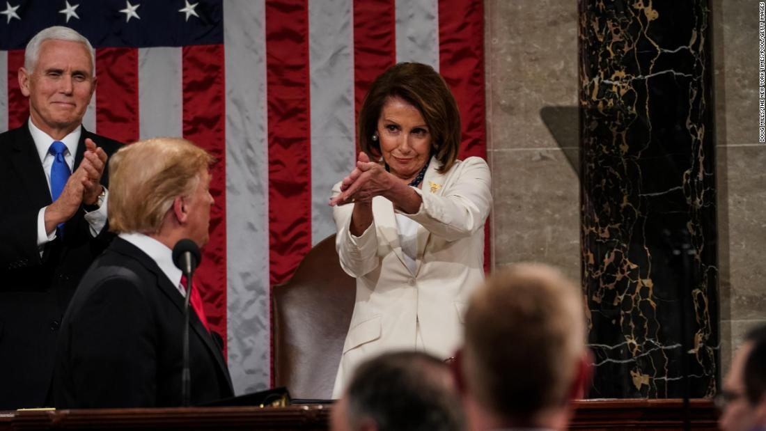 House Speaker Nancy Pelosi and Vice President Mike Pence applaud President Donald Trump at the State of the Union address on Tuesday, February 5. Because of the record-long government shutdown, Trump's speech came a week later than originally planned.
