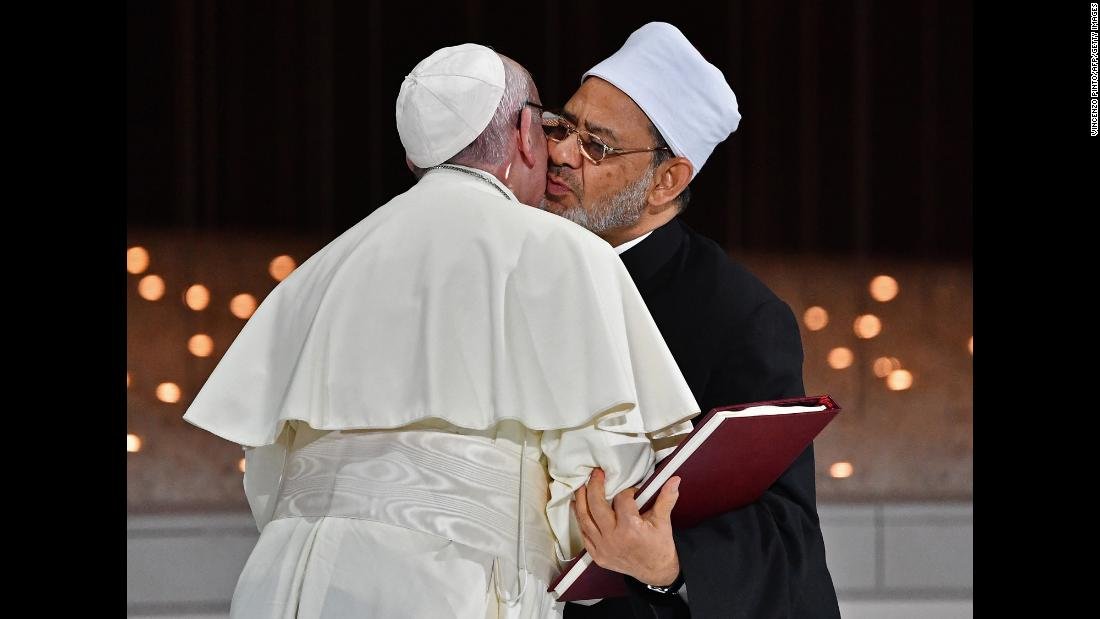 Pope Francis greets Ahmed el-Tayeb, the Grand Imam of Egypt-based Al-Azhar, during his historic trip to the United Arab Emirates on Monday, February 4. Al-Azhar is one of Sunni Islam's most important centers of scholarship.
