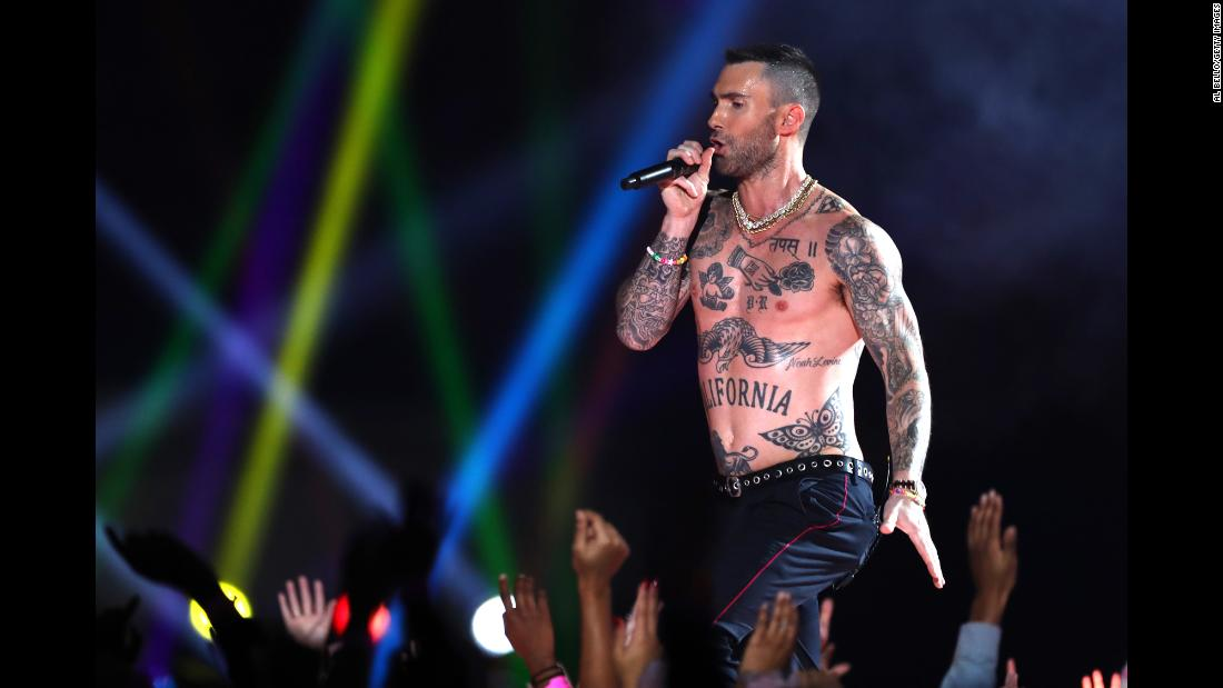Maroon 5 frontman Adam Levine performs during the Super Bowl halftime show on Sunday, February 3.