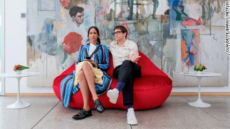"Zawe Aston (Josephina) and Jake Gyllenhaal (Morf) in ""Velvet Buzzsaw"" as conspiring cogs in the art world machine."