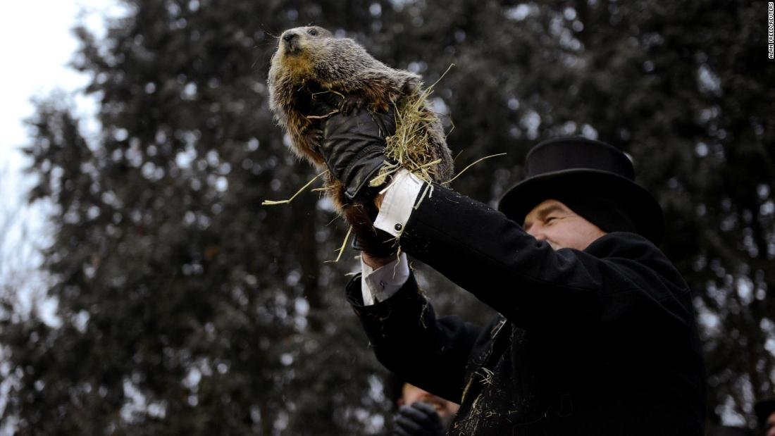 Punxsutawney Phil is introduced to the crowd during Groundhog Day celebrations in Punxsutawney, Pennsylvania, on Saturday, February 2. Phil didn't see his shadow, which supposedly means an early spring for us all.
