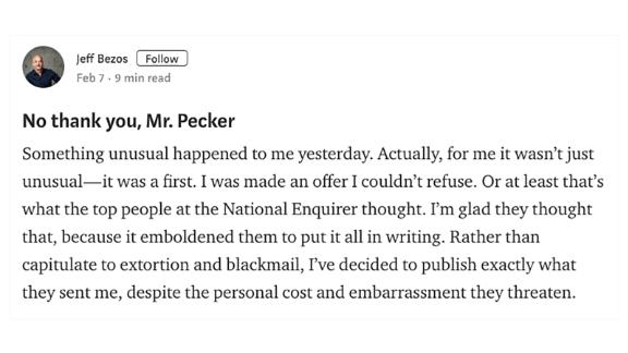 In an explosive tell-all blog post published Thursday afternoon, Jeff Bezos accused the publisher of the National Enquirer of trying to extort him.