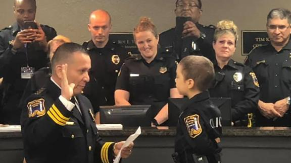 6-year-old Abigail Arias sworn in as honorary police officer in Freeport, Texas