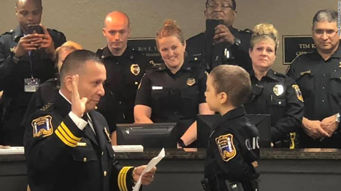 A 6-year-old girl with cancer is fulfilling her dream of becoming a police officer