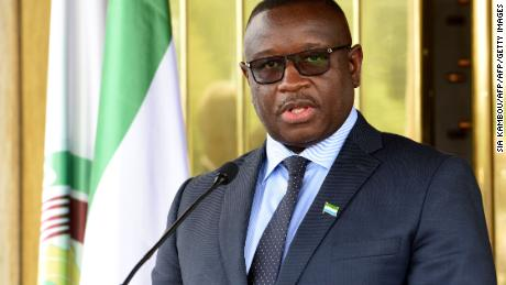 A file photo of President Julius Maada Bio of Sierra Leone attending a press conference on May 4, 2018.