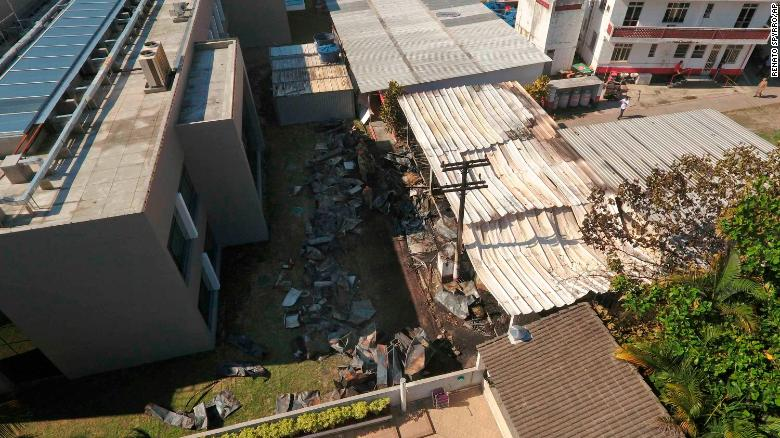 An aerial view shows Flamengo's training complex where an early morning fire left 10 people dead.