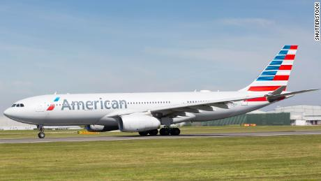 An American Airlines plane prepares to take off at the UK's Manchester Airport in May 2018.