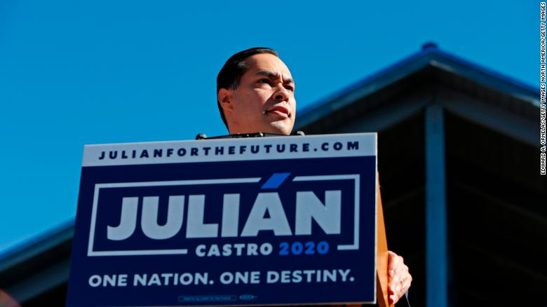 Julian Castro, former U.S. Department of Housing and Urban Development (HUD) Secretary and San Antonio Mayor, announces his candidacy for president in 2020, at Plaza Guadalupe on January 12, 2019 in San Antonio, Texas.