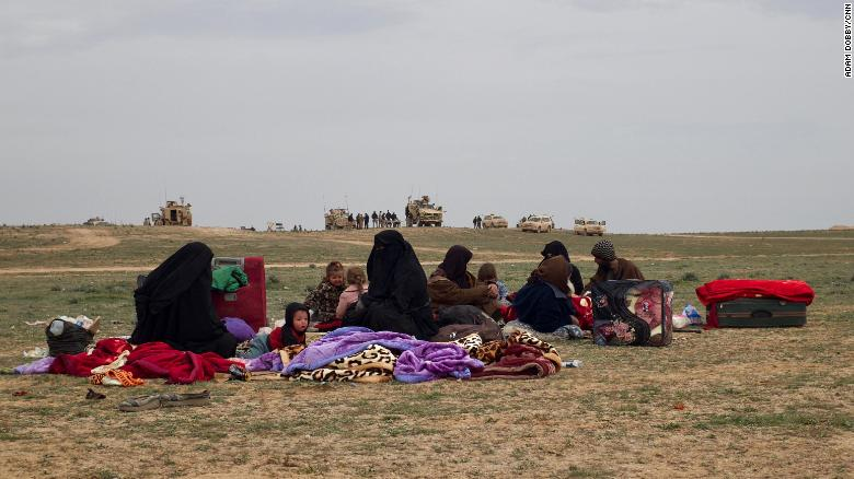 Anti-ISIS fighters bring fleeing civilians to this remote spot on the Syrian steppe.