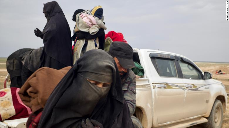 The so-called caliphate's former subjects  arrive dusty, exhausted, scared and disoriented.