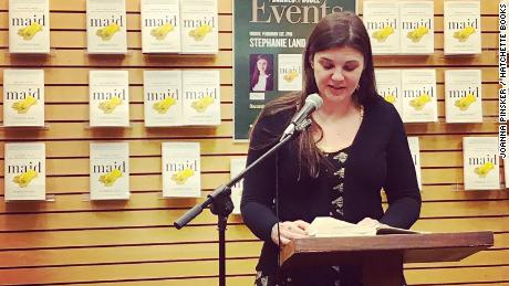 Stephanie Land speaks at an event.