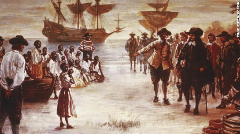 An engraving shows the arrival of a Dutch slave ship with a group of African slaves for sale in Jamestown, Virginia, in 1619.