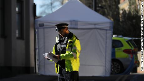 London's homicide rates have increased in recent years. A forensic tent covers the scene where a 20-year-old man was fatally stabbed in April 2018.