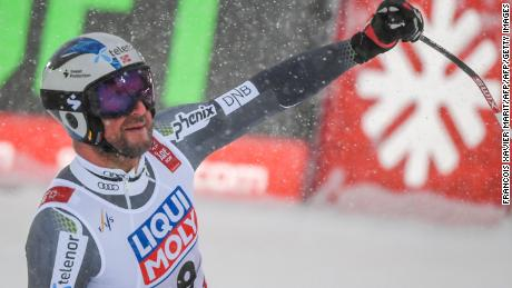 Norway's Aksel Lund Svindal finishes the Men's Downhill at the Ski World Championships in Are, Sweden.