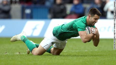 Conor Murray of Ireland touches down against Scotland.