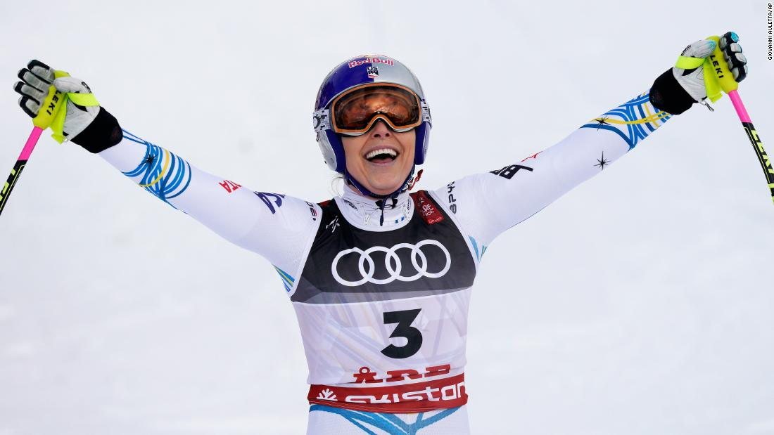 Lindsey Vonn, 34, celebrates after winning the bronze medal in the final race of her career at the the Alpine World Ski Championships in Are, Sweden, on February 10, 2019.