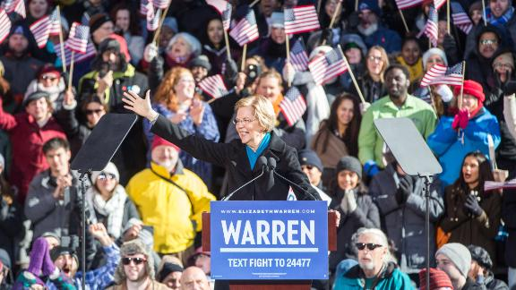 Sen. Elizabeth Warren (D-MA), announces her official bid for President on February 9, 2019 in Lawrence, Massachusetts. Warren announced today that she was launching her 2020 presidential campaign.