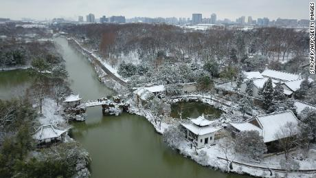 Snow in Eastern China's Yangzhou province on Friday.