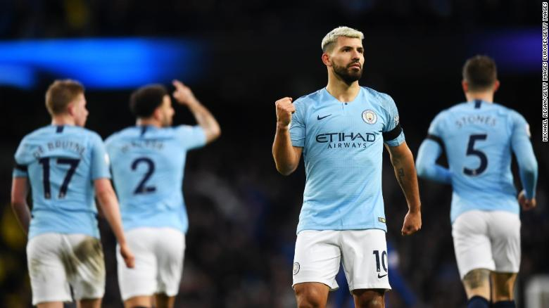 Sergio Aguero celebrates scoring against Chelsea.