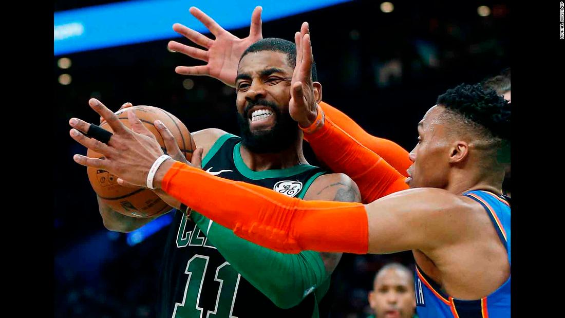 It looks like someone's giving Kyrie Irving moose antlers as the Boston guard drives to the basket against Oklahoma City on Sunday, February 3.