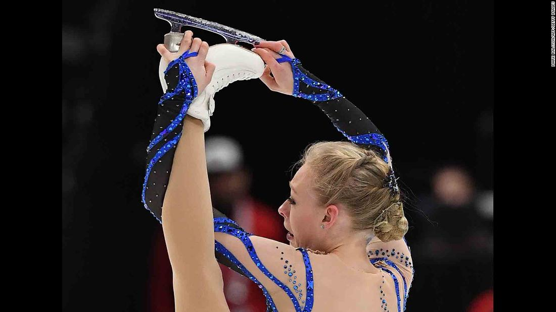 American figure skater Bradie Tennell competes at the Four Continents event in Anaheim, California, on Thursday, February 7.