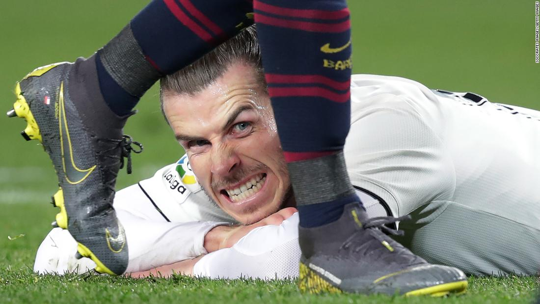 Real Madrid star Gareth Bale grimaces during a Copa del Rey semifinal match against Barcelona on Wednesday, February 6. The match ended 1-1.